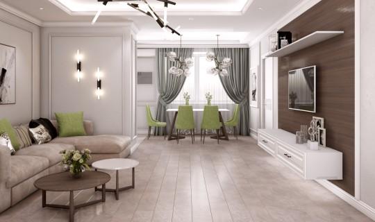 Большая гостиная с кухней и коридором
