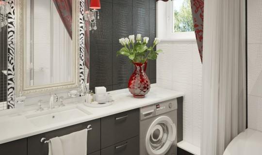 Ванная черно-белая с красным