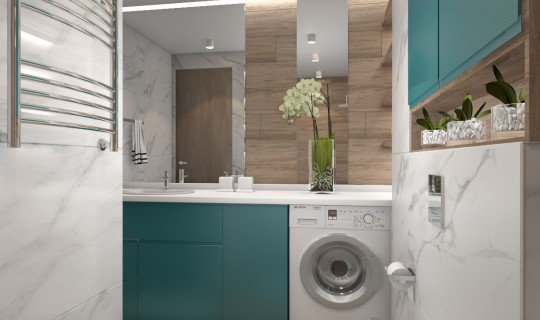 Ванная с цветным шкафом