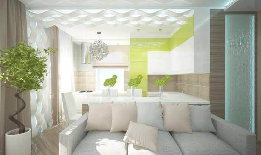 Гостиная - кухня с декоративными панелями