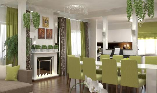 Гостиная-кухня для большой семьи