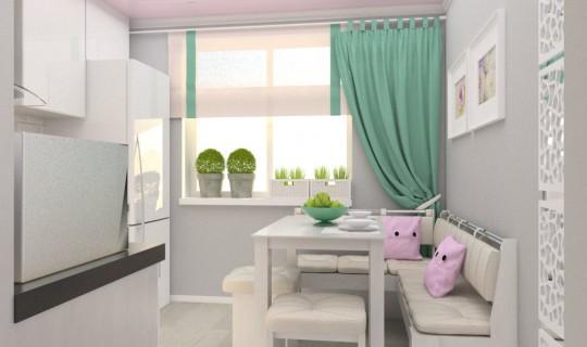Кухня с розовым потолком