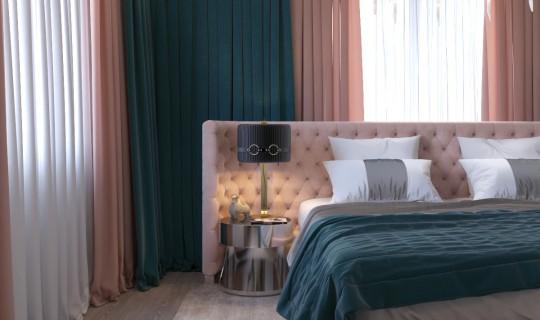 Спальня  в насыщенных тонах