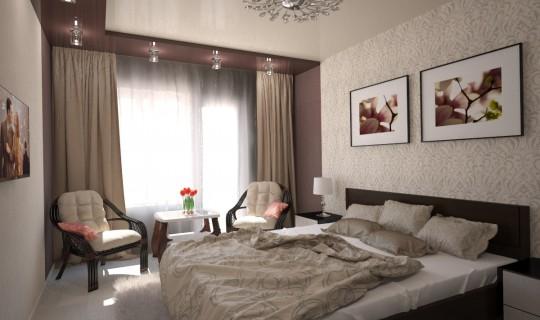 Спальня с зеркальным шкафом