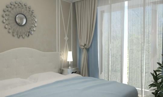 Спальня с зеркальной мозаикой