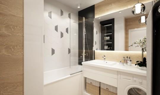 Ванная комната и санузел с черно-белой плиткой