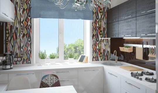 Кухня с рабочей зоной возле окна